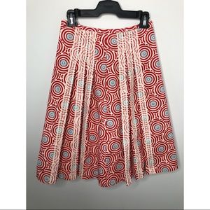 A-Line Pleated Skirt; Red, White & Turquoise